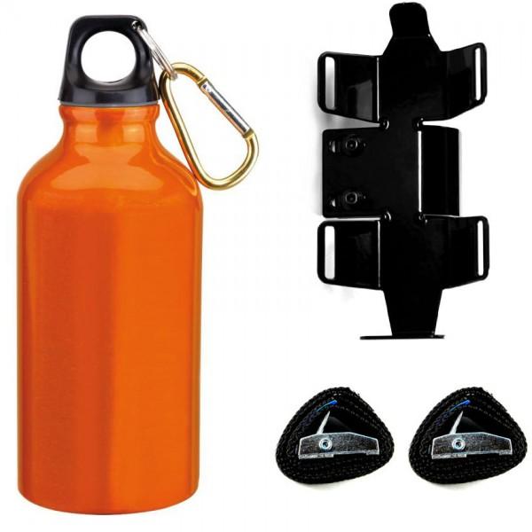 Trinkflasche mit passendem Halter | linke Seite | Orange