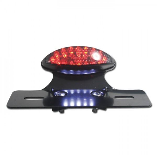 LED-Rücklicht mit Halteplatte, schwarz, m. KZB, B 100 x H 33 x T 33 mm, getönt, E-geprüft