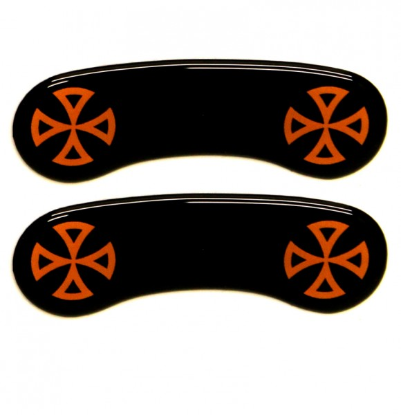 """""""IRON OPTICS"""" Bremssattel Cover 3D für Harley Davidson Modelle / Kreuz Orange"""