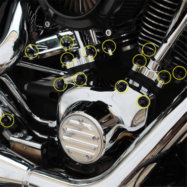 Abdeckkappen PVC Weich Set für Zoll- Motorschrauben HD Softail, Dyna & Touring Modelle