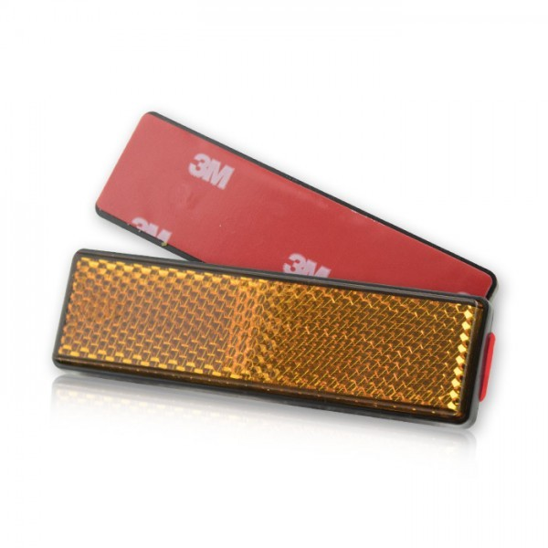 Reflektor , rechteckig, gelb, mit Rand Maße: 90 x 25 mm, selbstklebend, E-geprüft