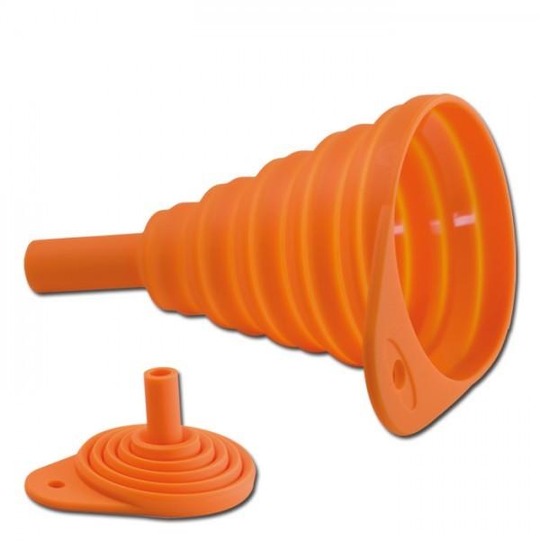 Universal Silikon-Falttrichter, orange, Länge faltbar