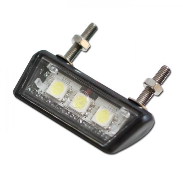 SMD - Kennzeichenbeleuchtung, schwarz, ABS, E-geprüft, 3 SMD s, B: 42 mm H: 10 mm T: 17 mm
