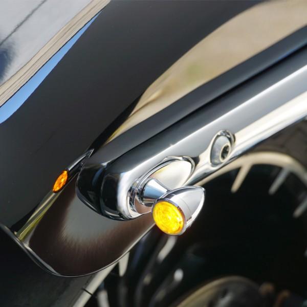 SMD-Blinker mini Chrom M8 Alu | 1 Paar| getönt Glas | Ø 19,5 x T 31 mm | E-geprüft