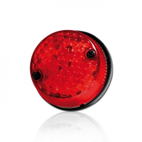 LED-Rücklicht mit KZB, rotes Glas, E-geprüft, Ø 58 mm, H 25 mm, Bolzen M4, Abstand 40 mm