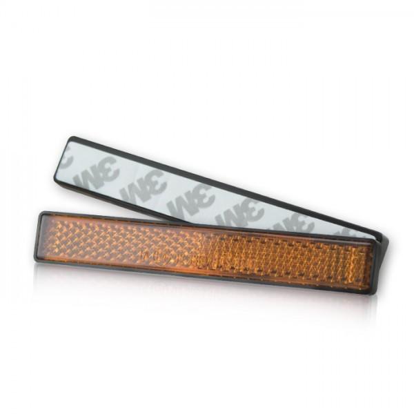 Reflektor, rechteckig, gelb, mit Rand, Maße: 102,5 x 15,3 x 7 mm, selbstklebend, E-geprüft