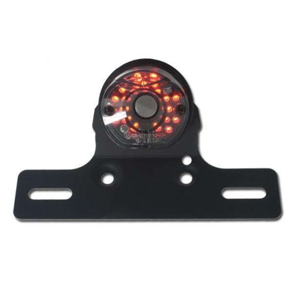 LED - Rücklicht, schwarz, ohne KZB, getönt, mit Halteplatte schwarz, B 54 x H 42 mm, E-geprüft