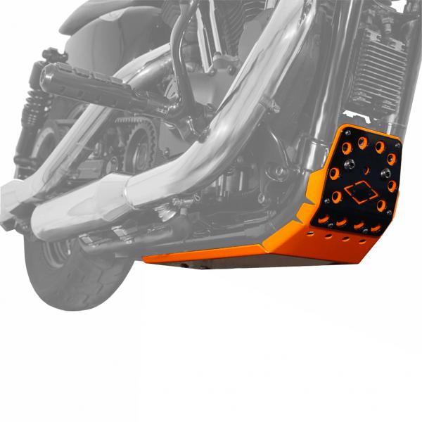 Motorschutz Unterfahrschutz Bugspoiler orange/schwarz für Harley Davidson Sportster Modelle ab 2004-
