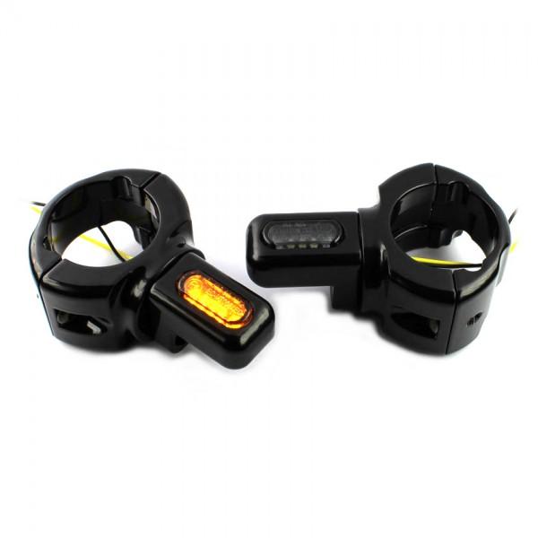 IOMP LED Blinker mini + Halter Schwinge für Harley Davidson Sofatil Modelle bis Bj. 2017 Typ 3