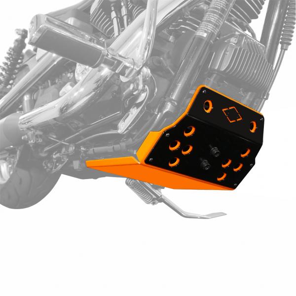 Motorschutz Unterfahrschutz Bugspoiler orange/schwarz für Harley Davidson Dyna Modelle Bj. 90-17