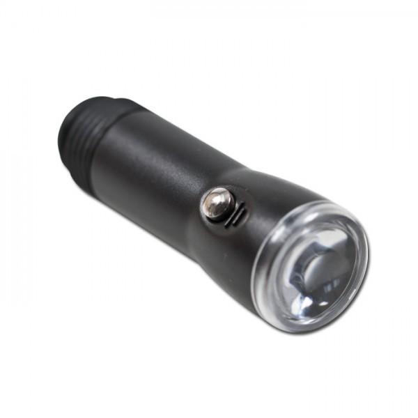 Mini-Power-LED Taschenlampe 12V / 1A, schwarz, Ø=18 mm, wiederaufladbar über 12V Bordsteckdose