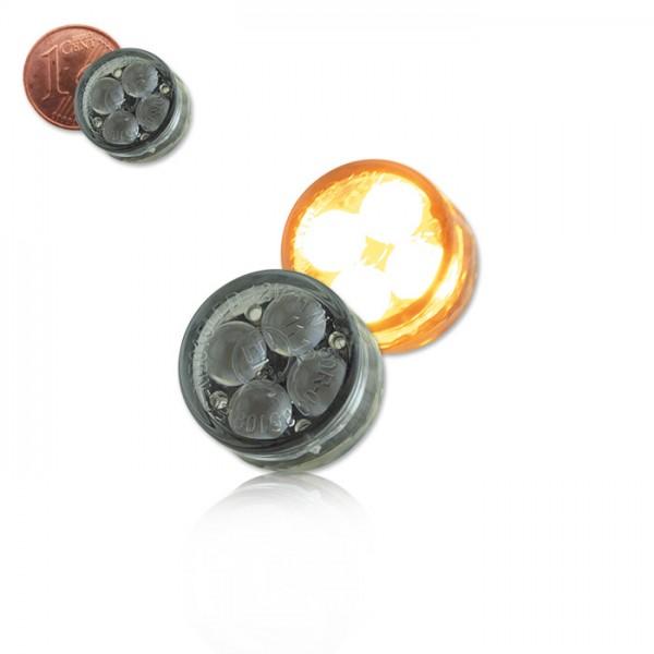 LED-Einbaublinker Paar| getönt | Maße: D 16 x T 8,5 mm | E-geprüft