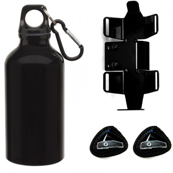 Trinkflasche mit passendem Halter | rechte Seite | Schwarz