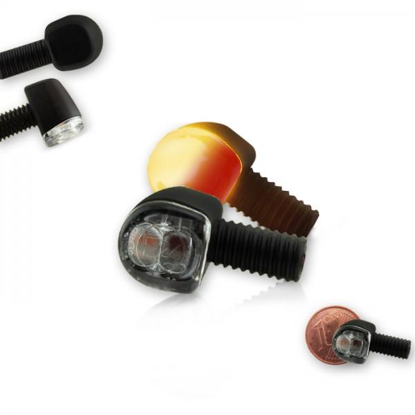 SMD-Blinker Rücklichtkombi 3 in 1 SUPER MINI | Alu | Paar | schwarz | Klarglas | M6 | E-geprüft