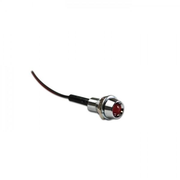 Mini - Kontrollleuchte, chrom, Farbe: rot, Ø 8 mm, 12 V, 20 mA