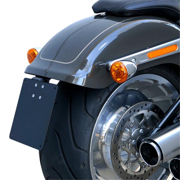 kurzer mittiger Kennzeichenhalter + Beleuchtung für Harley Davidson Fat Boy ab Bj.18 Typ1
