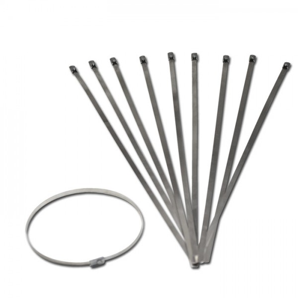 Kabelbinder Edelstahl (316), 1 Set = 10 Stück, Maße: B: 4,6 mm x L: 300 mm x H: 0,25 mm