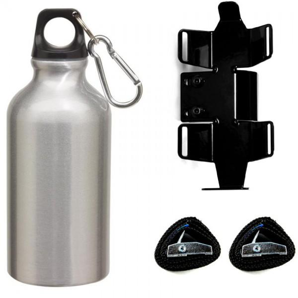 Trinkflasche mit passendem Halter | rechte Seite | Silber