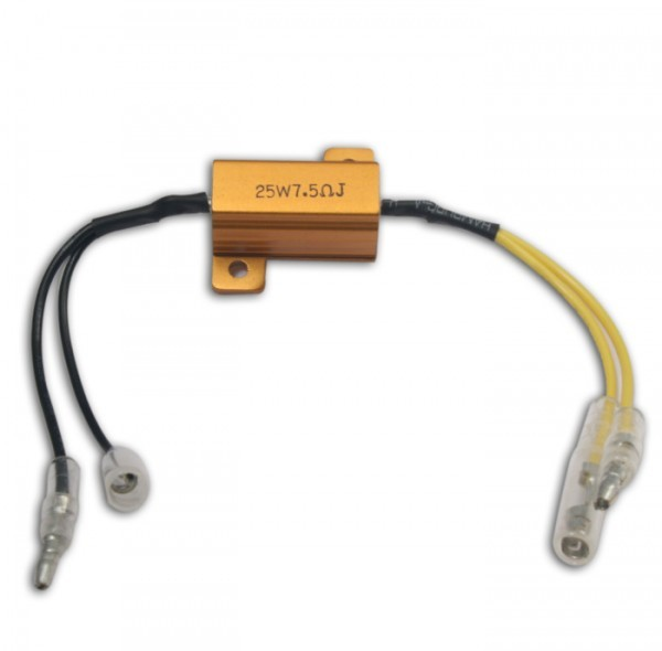 Adapterkabel mit Widerstand 7,5 Ohm / 25 Watt, für LED-Blinker, ausgleich bis zu 25 Watt