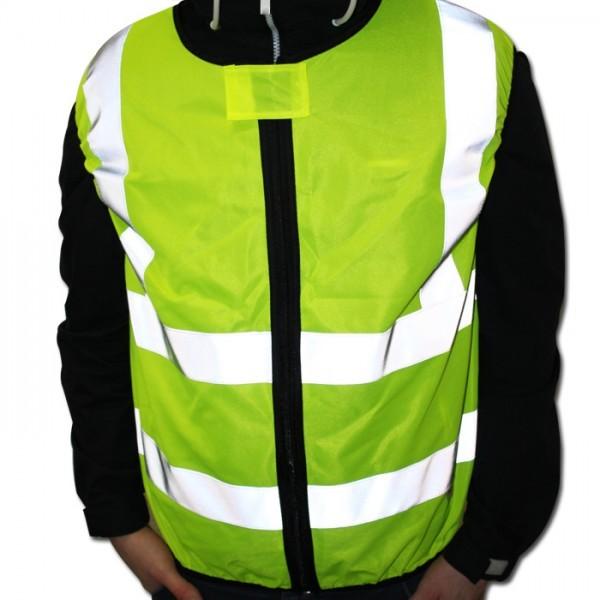 Warnweste Motorrad, Neongelb EN ISO 20471, Gr. XL, Front Reißverschluss, 100% Polyester,