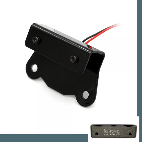 LED Kennzeichenbeleuchtung mit Halter KBK1 - schwarz - E-geprüft