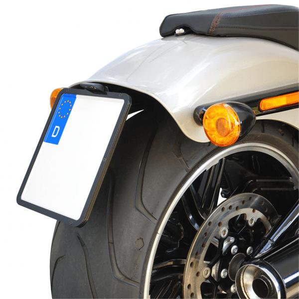kurzer mittiger Kennzeichenhalter + Beleuchtung für Harley Davidson Breakout ab Bj.2018 / Typ 2