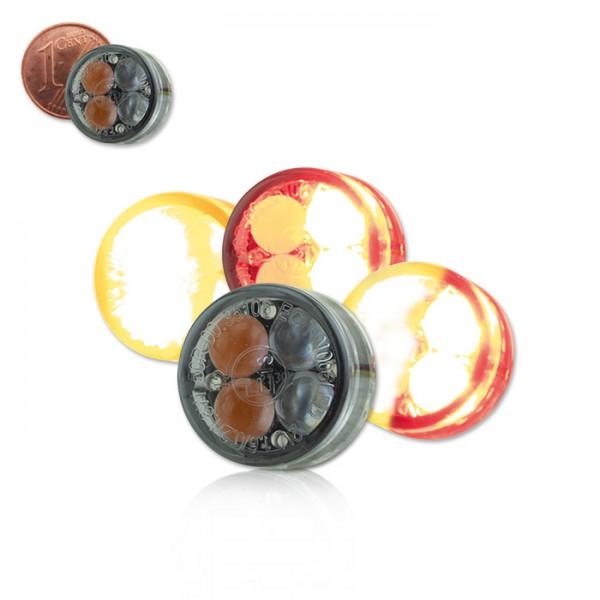 LED-Einbaublinker 3 in 1 | Paar| getönt | Maße: D 16 x T 8,5 mm | E-geprüft