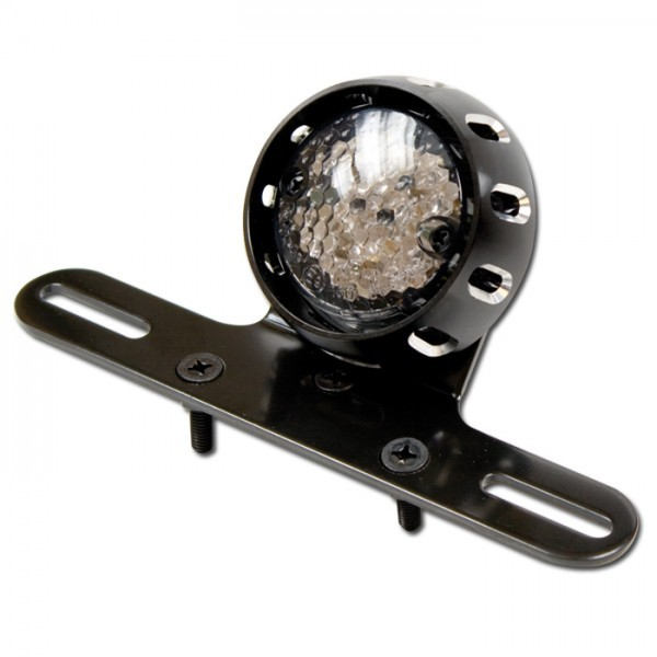 LED-Rücklicht mit Halter, getönt, mit KZB, Gehäuse in schwarz, Ø = 58 mm, E-geprüft
