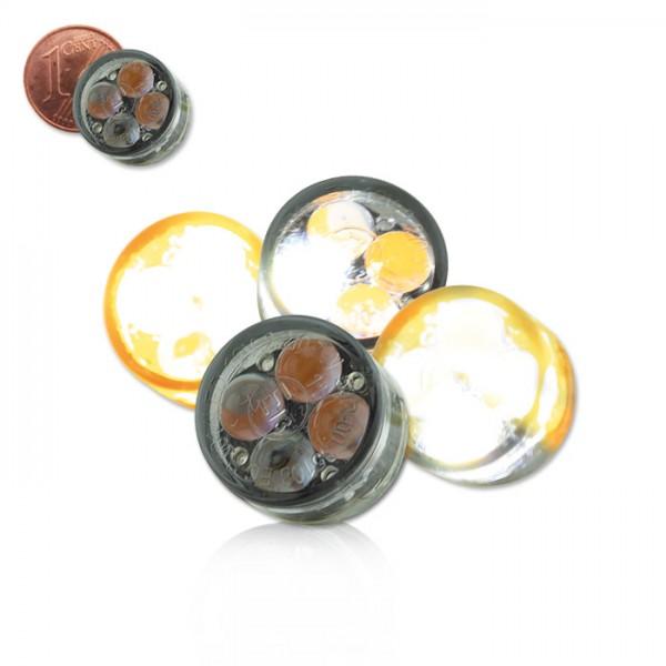 LED-Einbaublinker + Standlicht Paar| getönt | Maße: D 16 x T 8,5 mm | E-geprüft