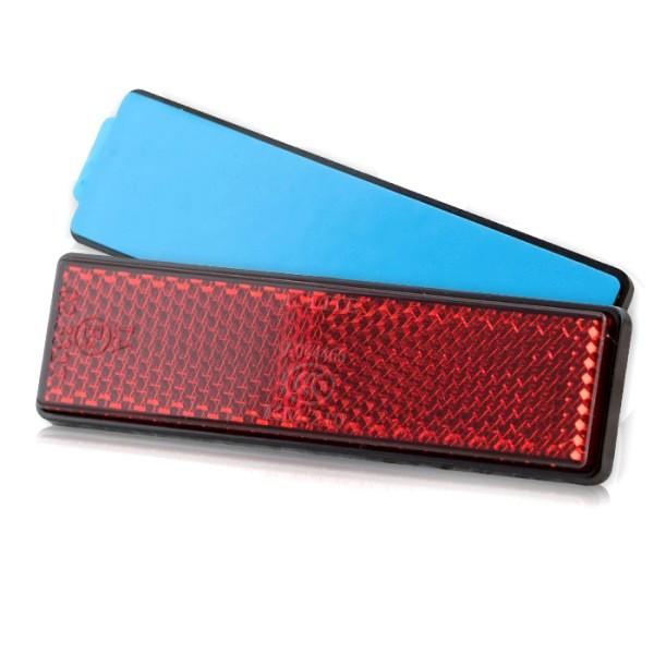 Reflektor rechteckig, rot, mit Rand, Maße: 90 x 25 mm, selbstklebend, E-geprüft