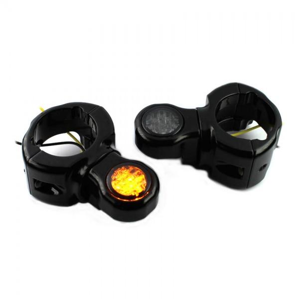 IOMP LED Blinker D20 + Blinkerhalter Schwinge für Harley Davidson Breakout / Rocker Typ 4