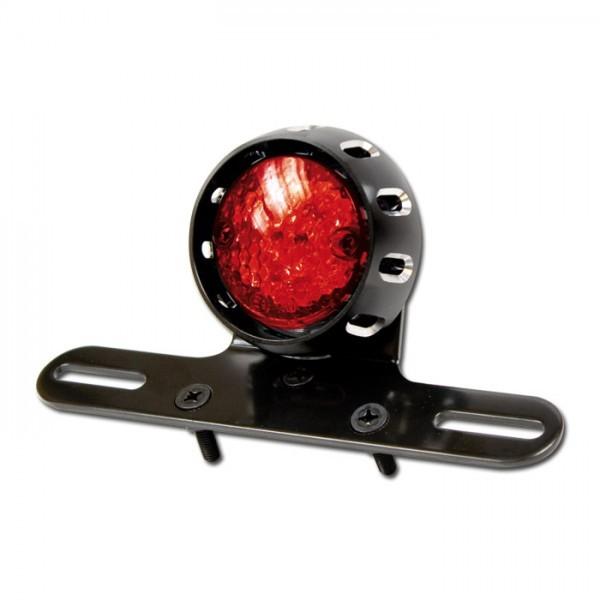 LED-Rücklicht mit Halter, rot, mit KZB, Gehäuse in schwarz, Ø = 58 mm, E-geprüft