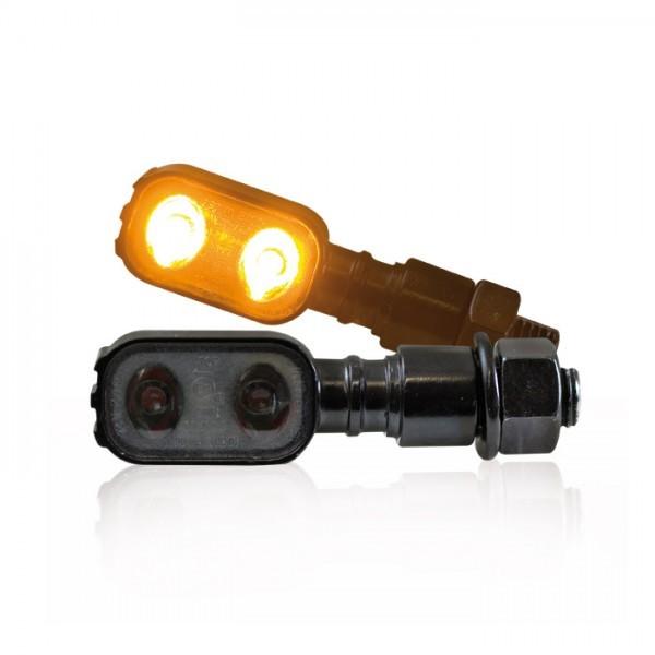 """LED-Blinker """"Fluted"""", schwarz, M10, getönt, Power-LED, L 51 x B 17 x T 20mm, E-geprüft"""