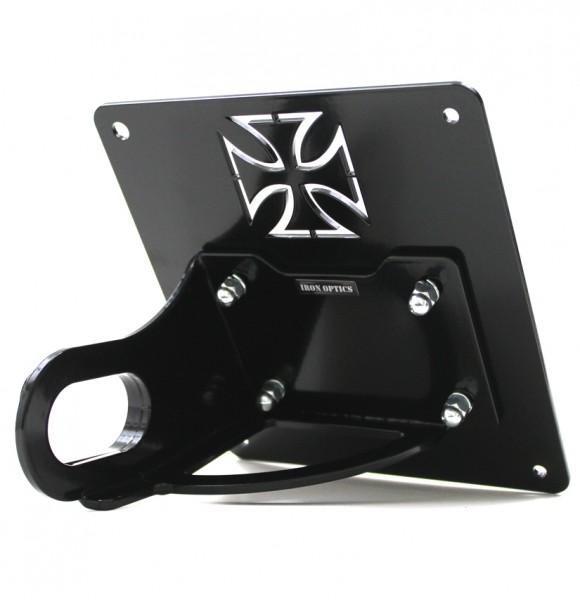 Kurzer seitl. Kennzeichenhalter S/C Harley Davidson Softail Breakout, Rocker BJ 13-17, mit Kreuz