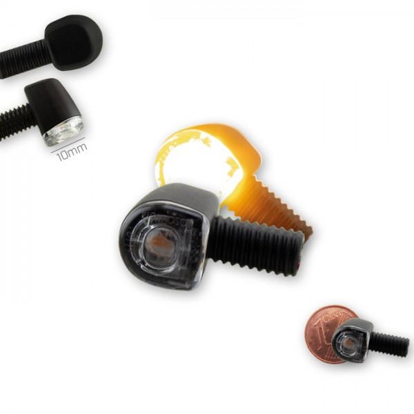 SMD-Blinker SUPER MINI | Alu | Paar | schwarz | Klarglas | M6 | E-geprüft