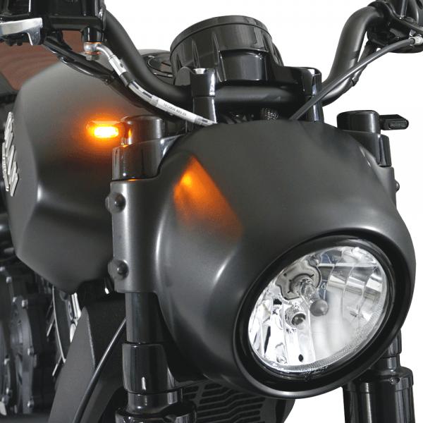 IOMP LED Blinker 21,5x8,5 mit Gabel Kappen für Indian Motorcycle Scout Modelle
