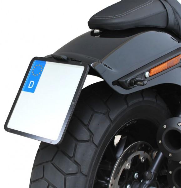 kurzer mittiger Kennzeichenhalter + Beleuchtung für Harley Davidson Fat Bob ab Bj.2018 / Typ 2